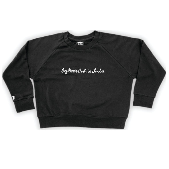 Boy Meets Girl® in London Black Crop Sweatshirt