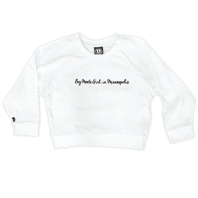 Boy Meets Girl® in Minneapolis White Crop Sweatshirt