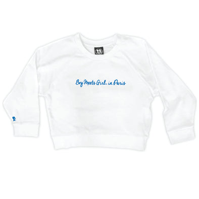 Boy Meets Girl® in Paris White Crop Sweatshirt