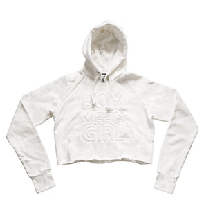 BOY MEETS GIRL® UNEXPECTED 2019 Raw Edge Recycled White Hoodie