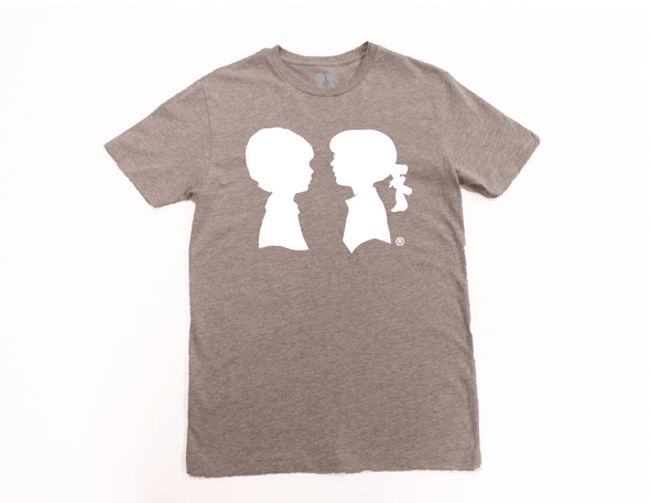 BOY MEETS GIRL® Heather Grey Unisex Tee with White Logo
