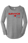 BOY MEETS GIRL® x SURVIVOR CORPS Tri-Blend Heather Grey Long Sleeve Tunic T-Shirt