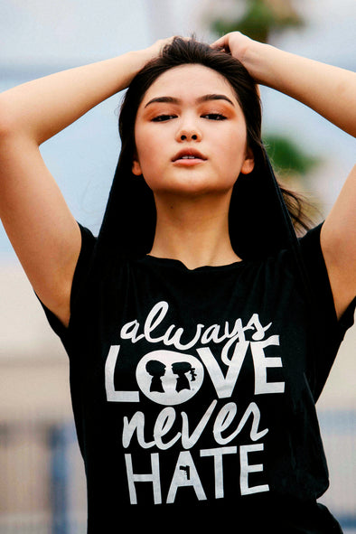 BOY MEETS GIRL® Always Love, Never Hate Crew Black Unisex Tee