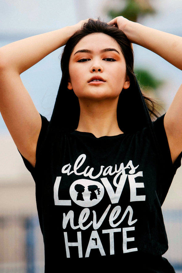 BOY MEETS GIRL® Always Love, Never Hate White Unisex Tee