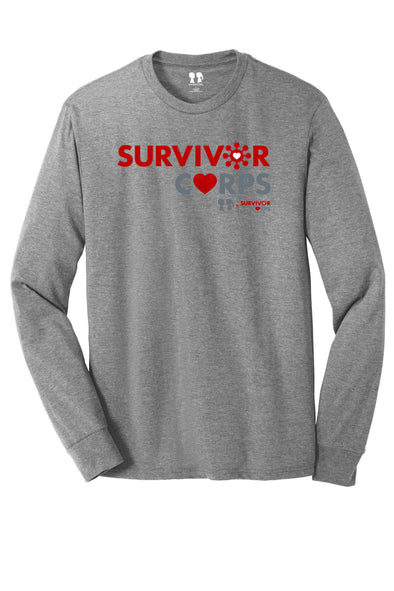 BOY MEETS GIRL® x SURVIVOR CORPS Tri-Blend Heather Grey Long Sleeve Unisex Tunic T-Shirt