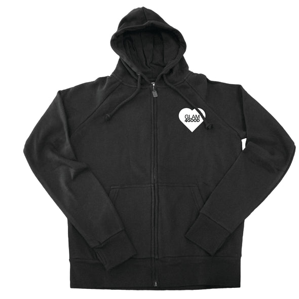 BOY MEETS GIRL® for GLAM4GOOD Black Zip Hoodie