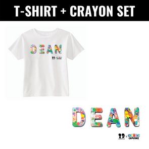 BOY MEETS GIRL® x Cre8ive Crayonz Recycled Confetti Font Customizable Kids T-Shirt + Crayon Bundle