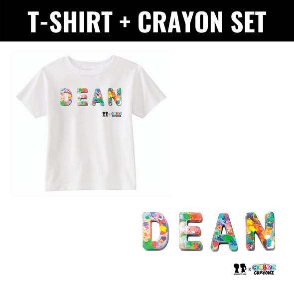 BOY MEETS GIRL® x Cre8ive Crayonz Recycled Confetti Font Customizable Adults or Kids T-Shirt + Crayon Bundle