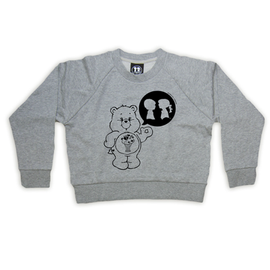 BOY MEETS GIRL® x CARE BEARS Heather Grey Crop Sweatshirt