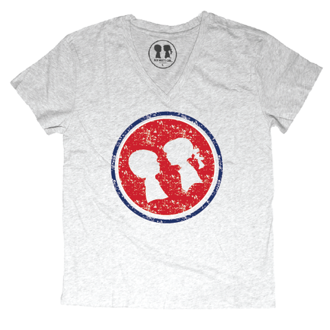 """Go Cubs Go"" Full Circle Tee Vintage Print (V-Neck)"