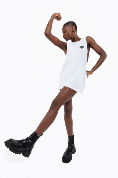 BOY MEETS GIRL® for GLAM4GOOD White Drop Armhole Tank Top