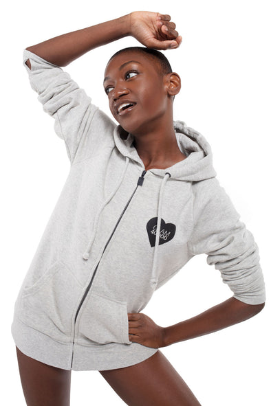 BOY MEETS GIRL® for GLAM4GOOD Heather Grey Zip Hoodie