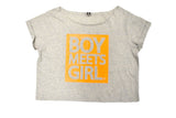 Boy Meets Girl® Glitter 'n' Grit Florescent Script Crop Tee
