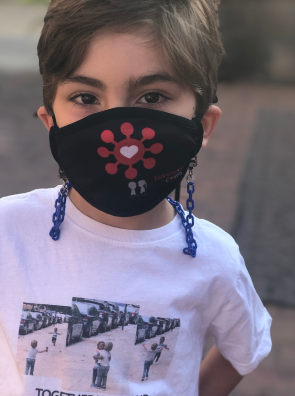 "BOY MEETS GIRL® x Pretty Connected Mask Chain Set: Kids Survivor Corps ""Dylan"" Drinking Mask with Royal Blue Chain"