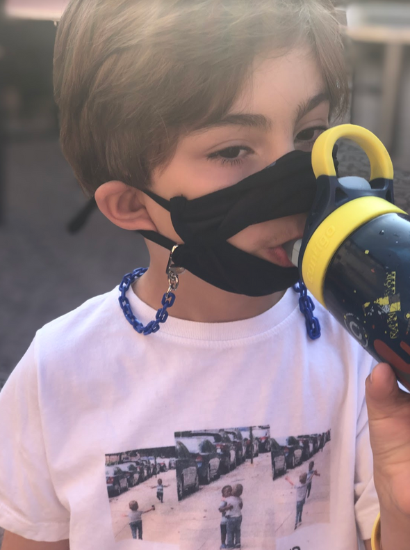 "BOY MEETS GIRL® x Pretty Connected Mask Chain Set: Kids Black ""Dylan"" Drinking Sparkle Mask with Light Blue Chain"