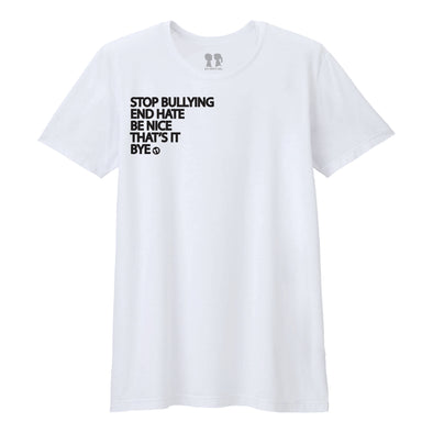 BOY MEETS GIRL® Stop Bullying, End Hate White Unisex T-Shirt