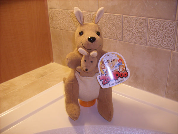 ZooPoo Kangaroo filled with 8oz of tear free Strawberry ZooPoo Kids Shampoo