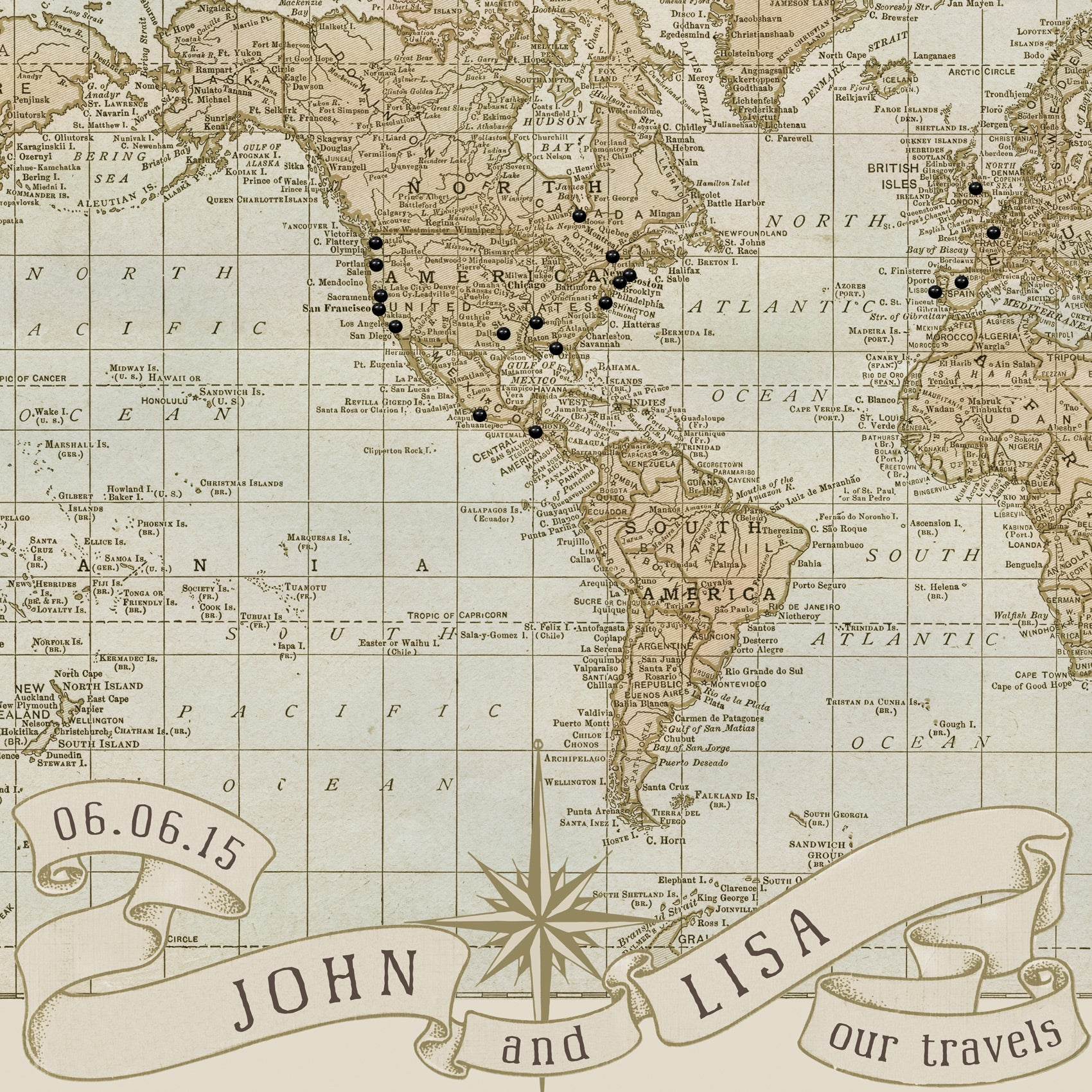 Close up of the wedding anniversary push pin map; customized with the names John and Lisa