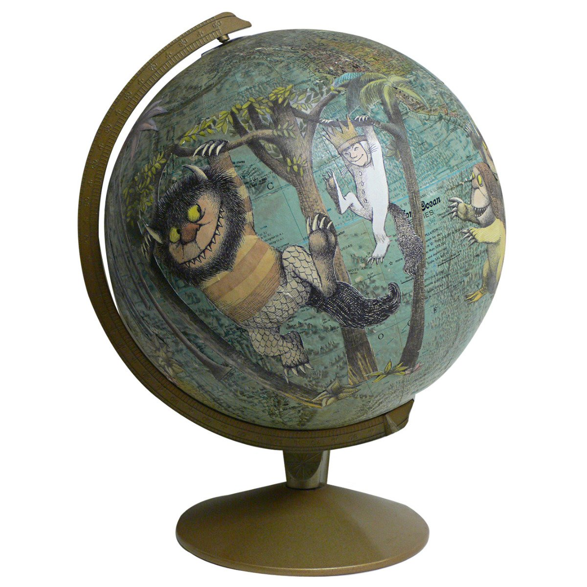 Where the Wild Things Are vintage globe art