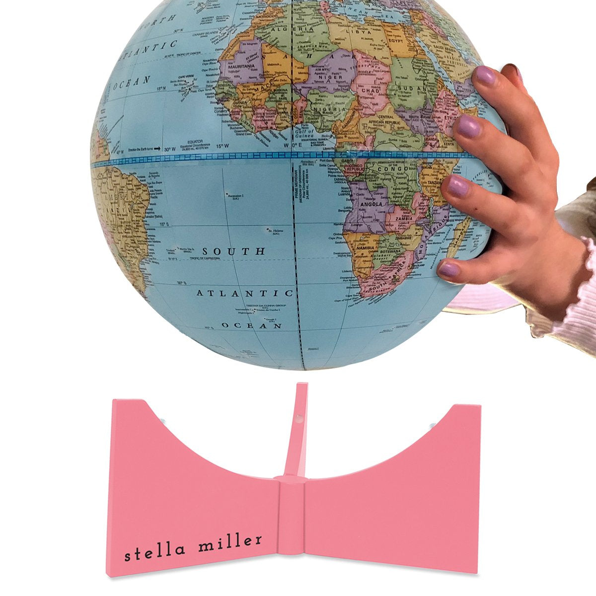 World globe with pink engraved base for child's room