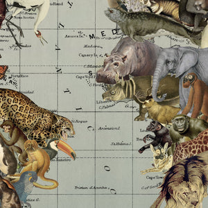 Endangered Species Hanging Canvas Map Wall Art