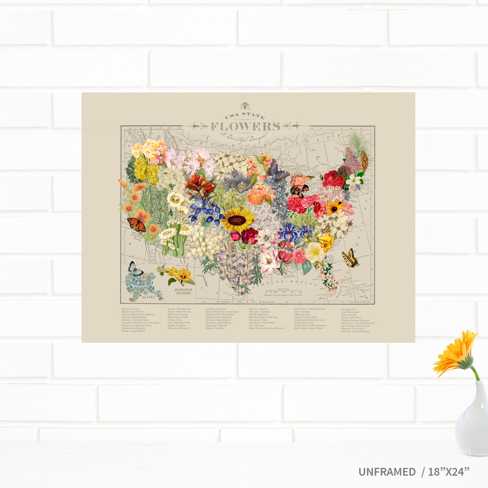 USA State Flowers Fine Map Art Print