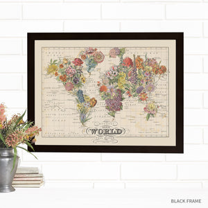 Bouquet Map of the World Lithograph
