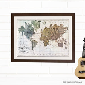 Musical Instruments World Map Wall Art by Wendy Gold