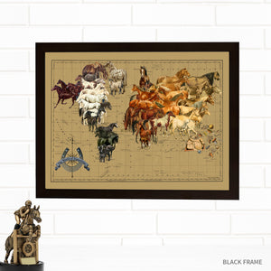 Horses of the World Map Art by Wendy Gold