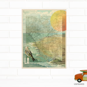 Los Angeles California Map Art Print by Wendy Gold