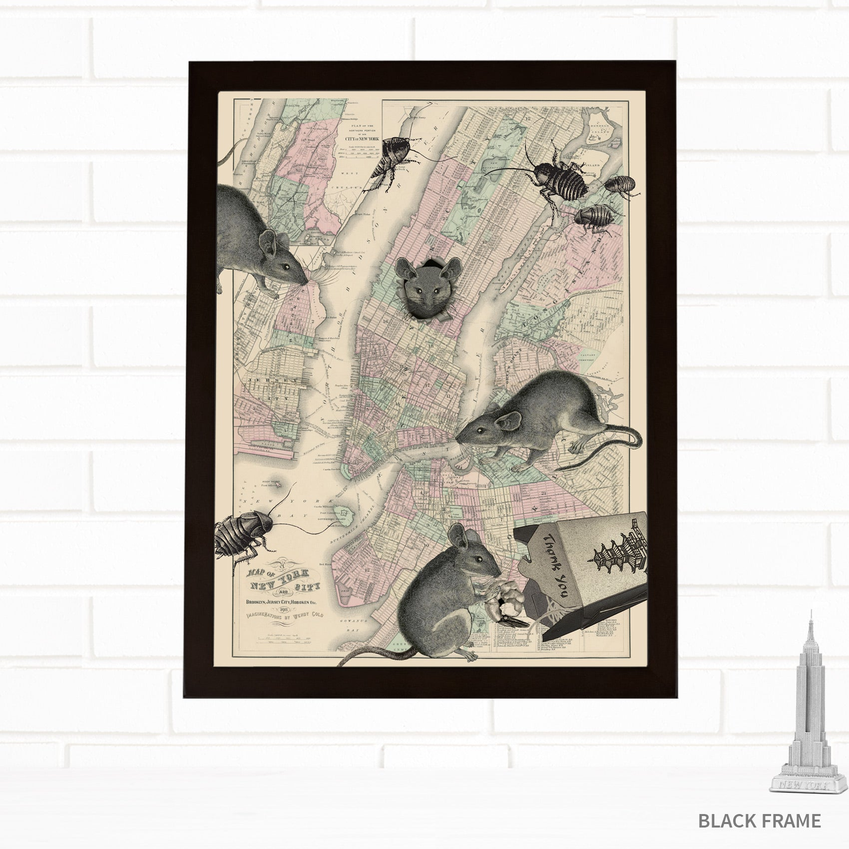 Vintage Map Wall Art New York City by Wendy Gold