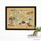 Ocean Currents Map Wall Art with Vintage Sea Life by Wendy Gold