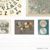 Flora and Fauna Vintage Map Art