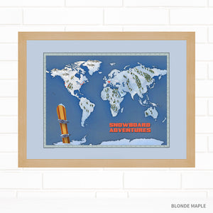 Snowboard Adventures World Map with Pins
