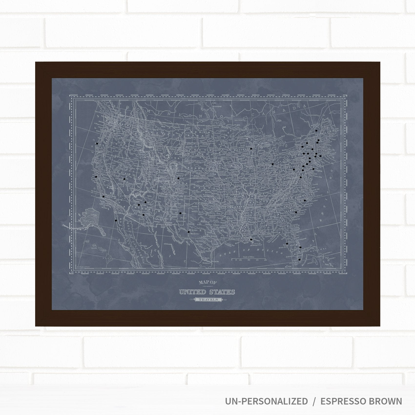 USA Denim Push Pin Map