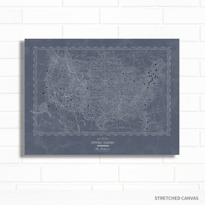 Personalized Vintage Denim Blue USA Travel Push Pin Map Art