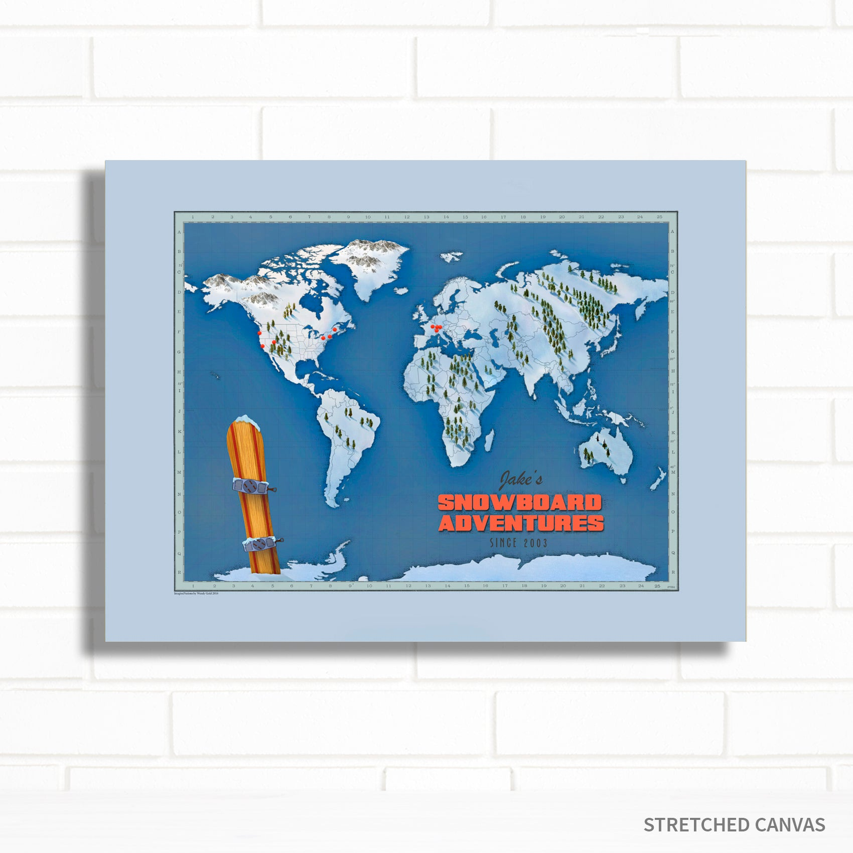 World Snowboard Push Pin Map by Wendy Gold