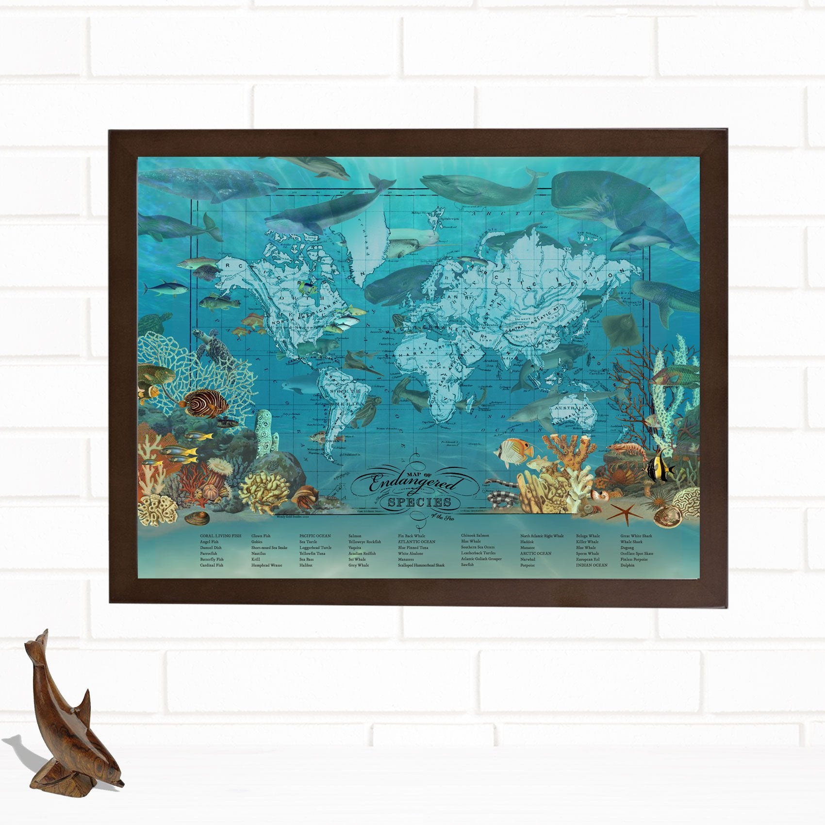 Endangered Species of the Ocean Fine Map Wall Art Print