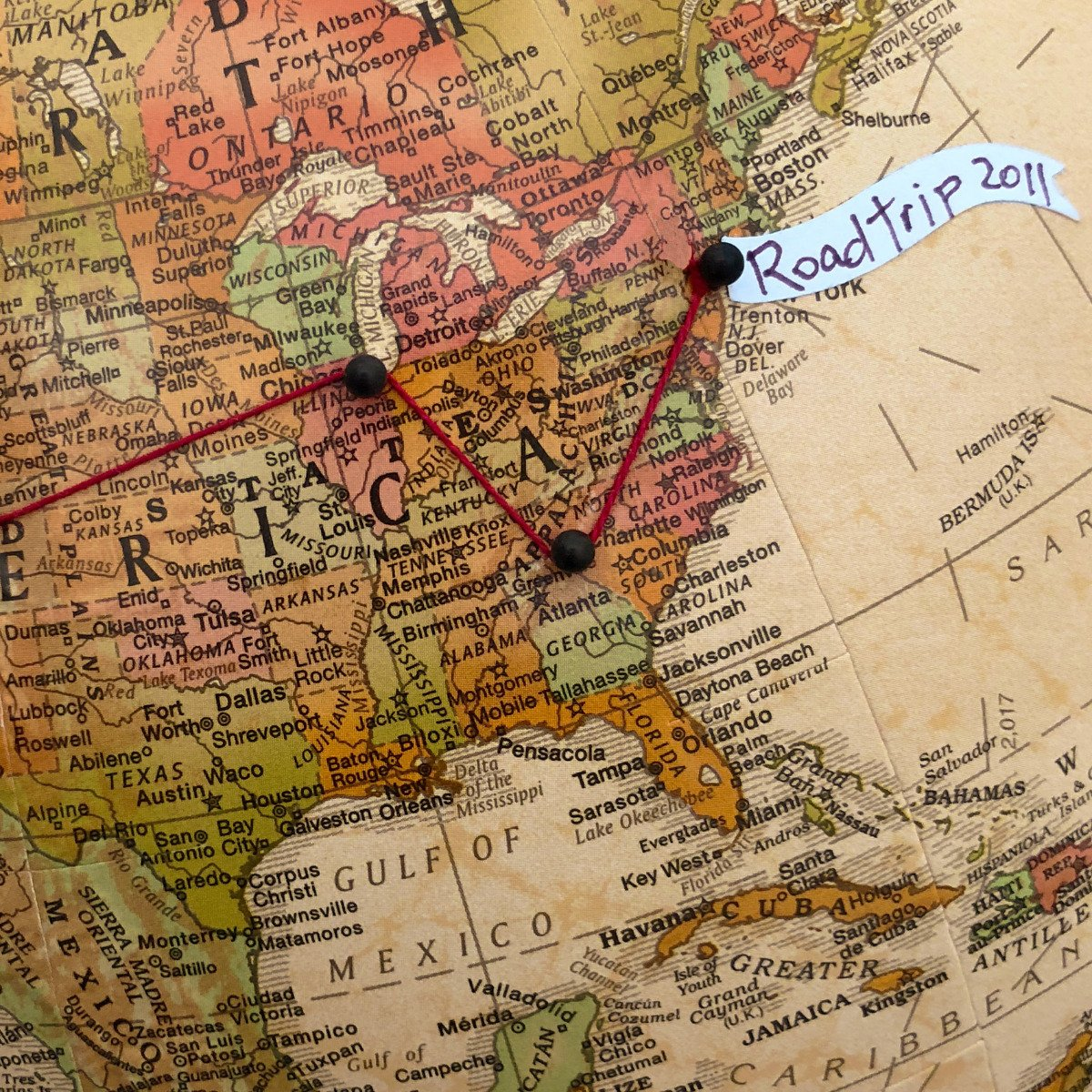 Push Pin Globe for Tracking Travel by Wendy Gold