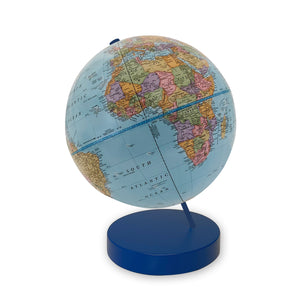 9 inch Blue Axis World Globe- blue base