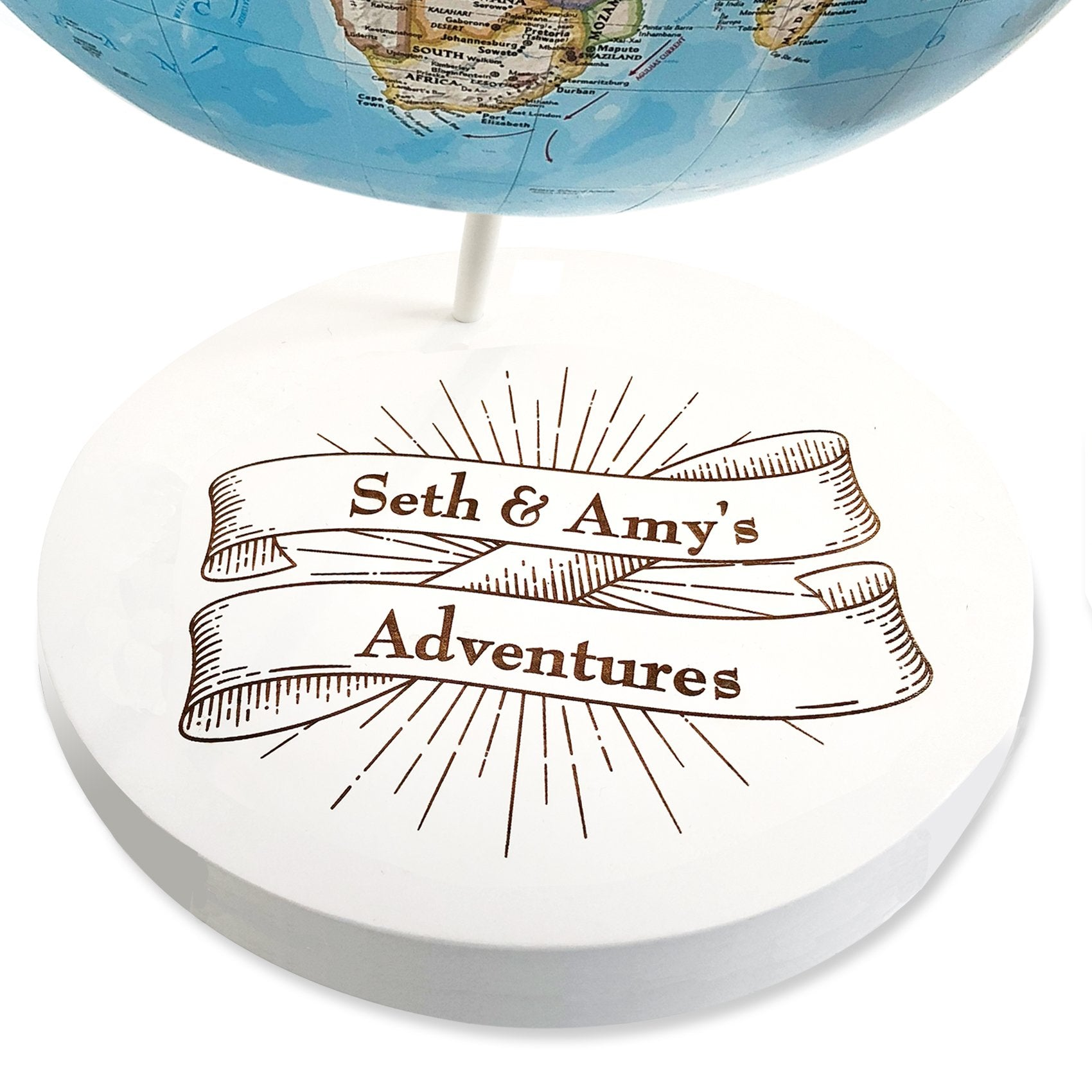 Custom Engraved Adventures Banner Push Pin Globe by Wendy Gold