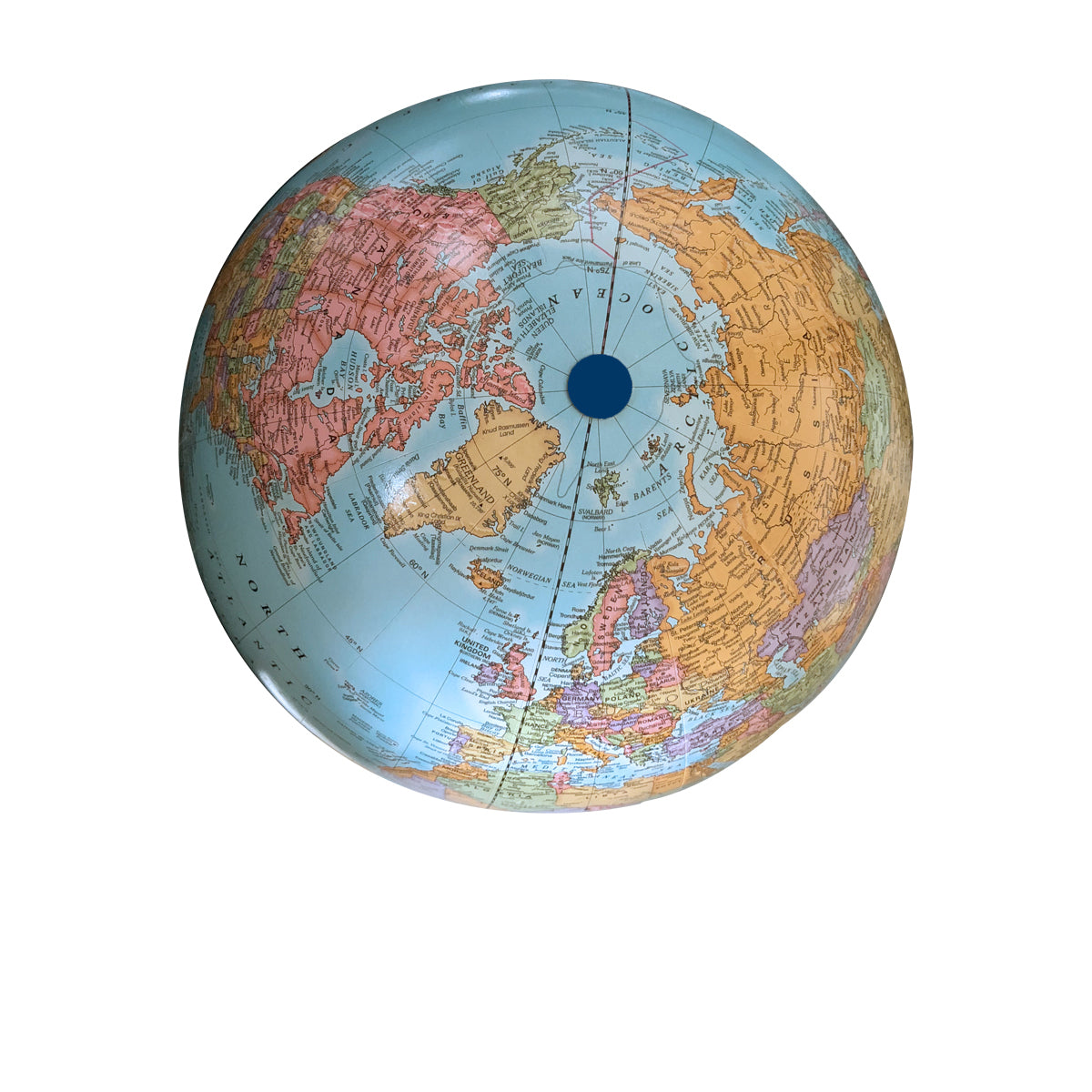 Small Blue Handheld World Globe-top view