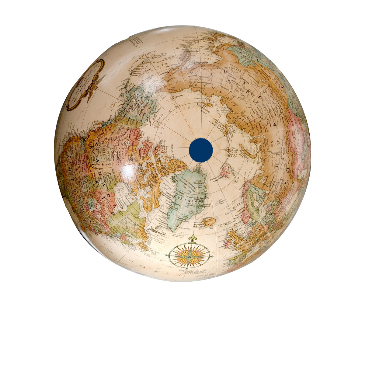 9 Inch Antique Classic Desk Globe with Blue Base