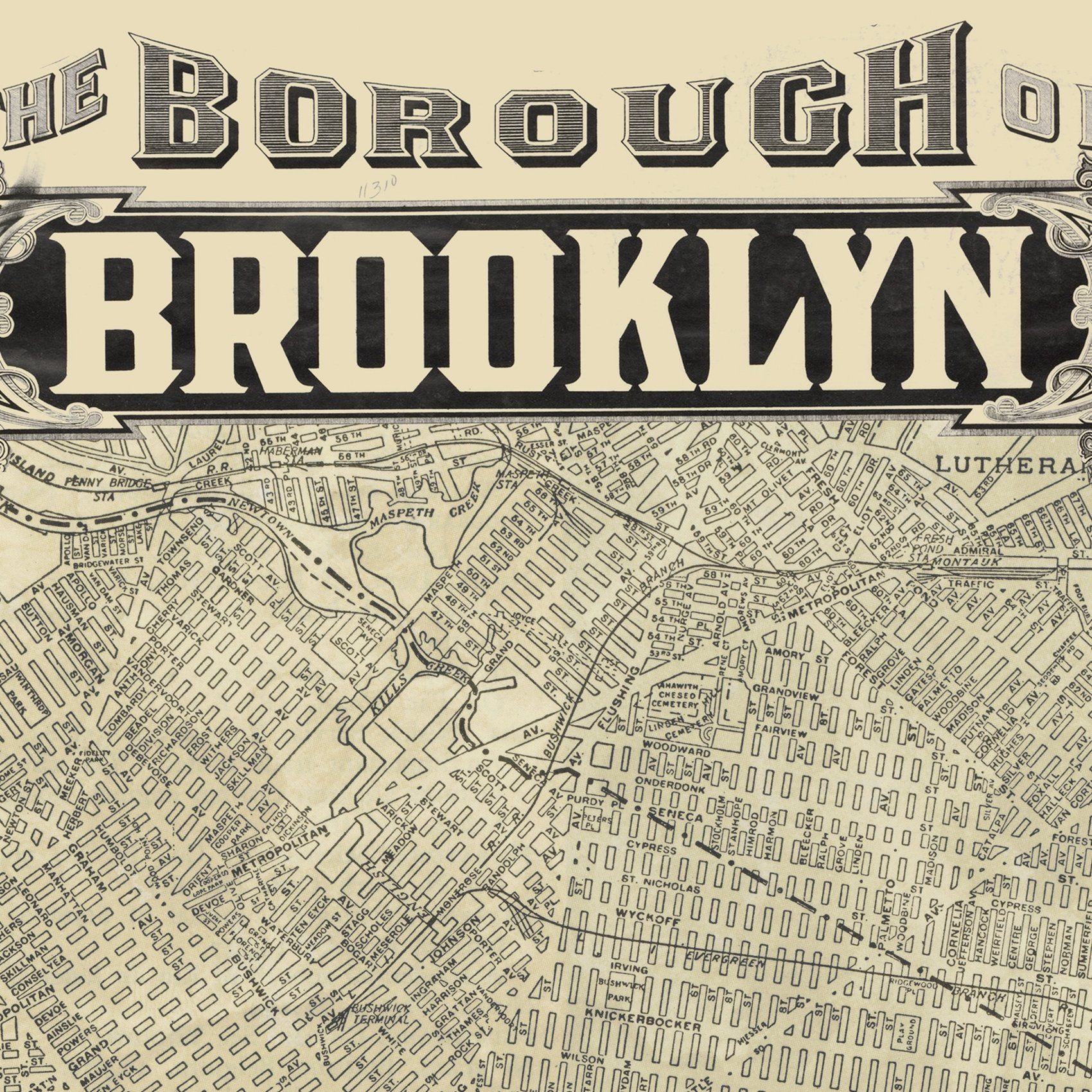 Brooklyn New York Map Art by Wendy Gold