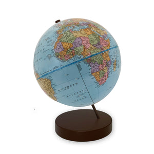 9 inch Blue Axis World Globe- brown base