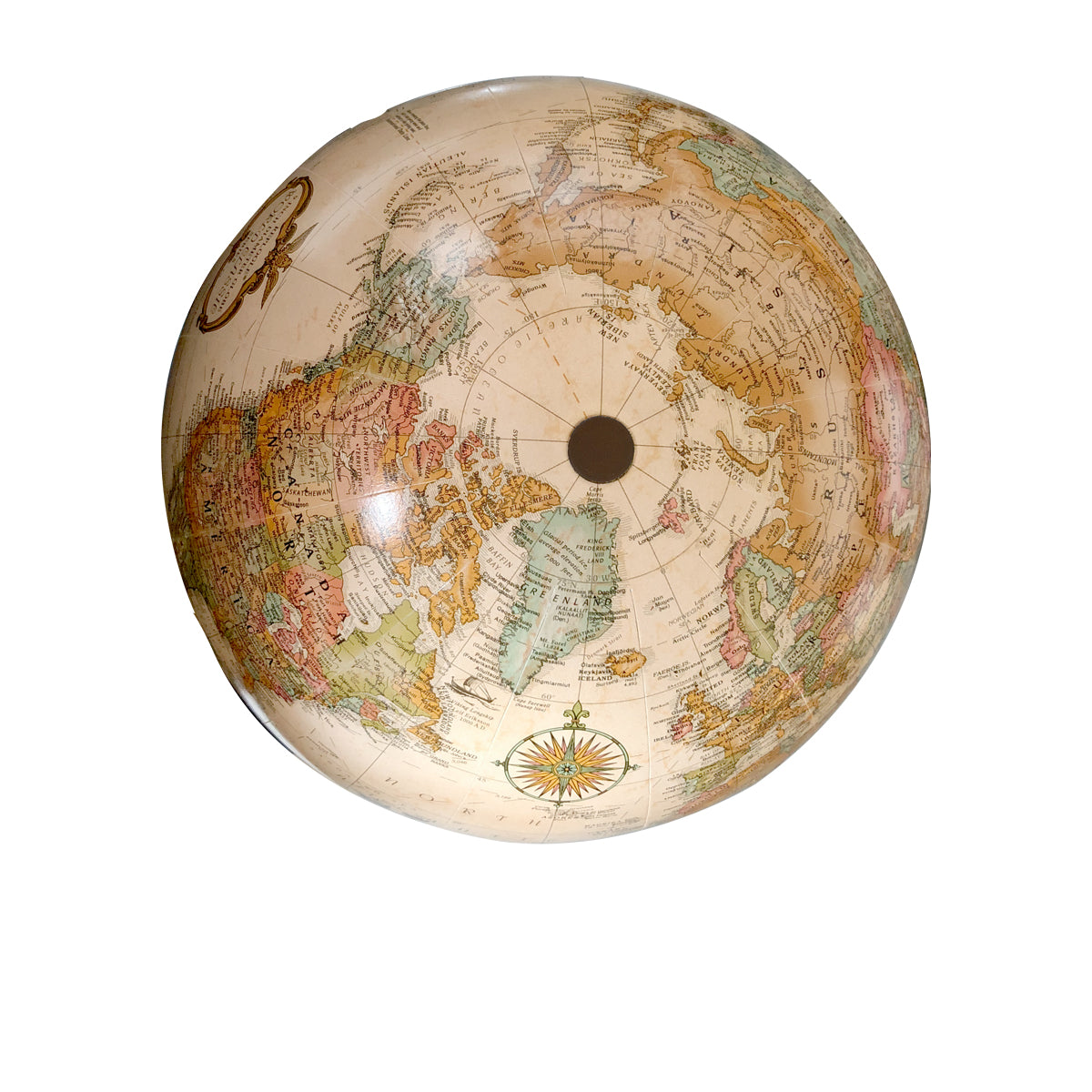Small Antique Handheld World Globe- top view