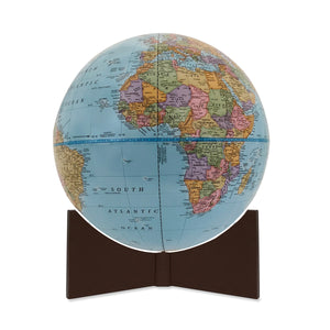 Small Blue Handheld World Globe-brown base