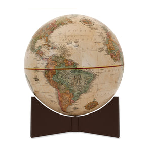 Small Antique Handheld World Globe- brown base