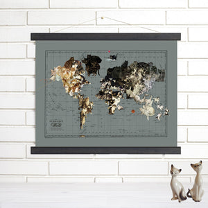 world cat map canvas print