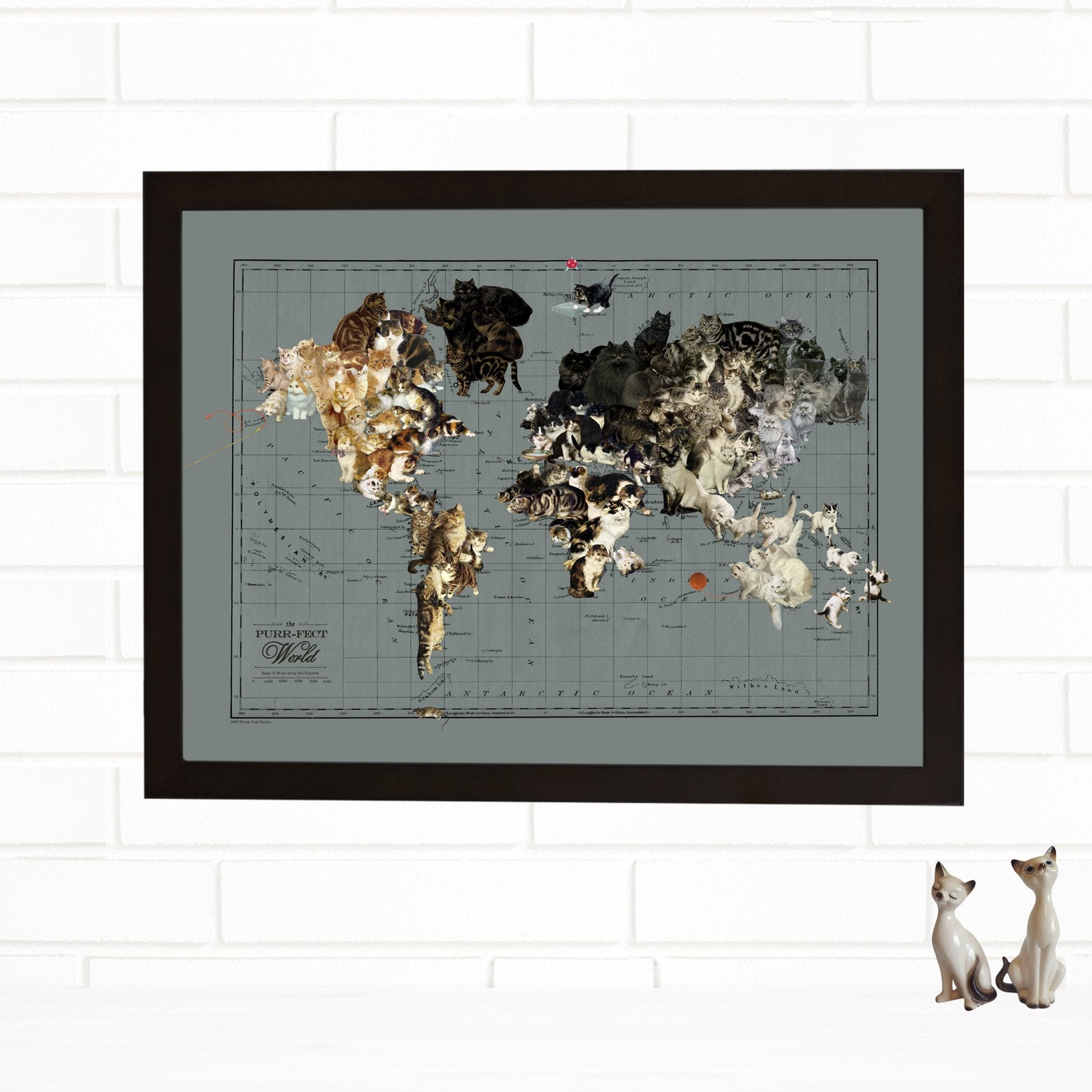 cat art map of the world